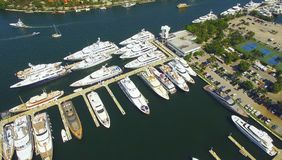 Yachts and boats docked in harbor. Aerial view stock photo