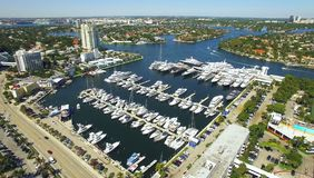 Yachts and boats docked in  harbor. Aerial view Royalty Free Stock Photography