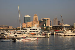 Yachts and boats in Dubai Marina Stock Images