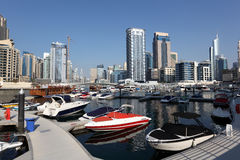 Yachts and boats in Dubai Marina Royalty Free Stock Images