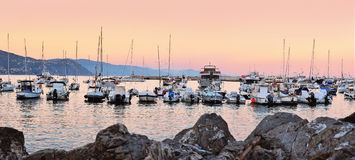 Yachts and boats at evening port of Santa Margherita, Liguria Stock Photography