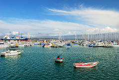 Yachts and boats in harbor Royalty Free Stock Image