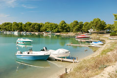 Yachts and boats in harbor Stock Photography