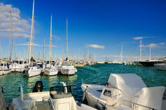 Yachts and boats in harbor Royalty Free Stock Images