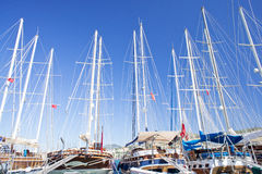 Yachts and boats in harbor in Bodrum. Turkey. Royalty Free Stock Photo