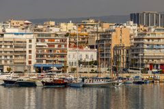 Athens. Port Piraeus. Yachts and boats in the harbor of Piraeus on a sunny day. Athens. Greece stock photo