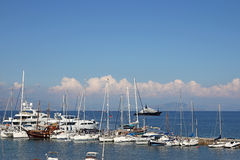 Yachts and boats Ionian sea Corfu island Stock Images