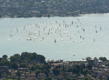 Yachts and boats on lake of Zurich top view from Uetliberg in Zurich, Switzerland royalty free stock photo
