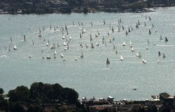 Yachts and boats on lake of Zurich top view from Uetliberg in Zurich, Switzerland royalty free stock images