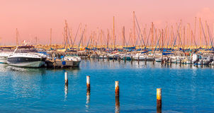 Yachts and boats on marina in Ashkelon. Stock Photos