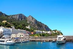 Yachts and boats at Marina Grande port, Capri island, Italy Royalty Free Stock Images