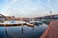 Yachts and boats at marina in morning Stock Photography