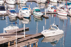 Yachts and boats in marina. Thailand Stock Photos