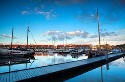 Yachts and boats at marine Reitdiephaven before sunset Royalty Free Stock Photography