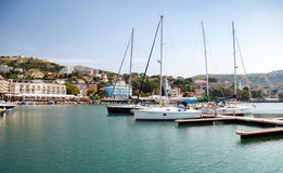 Yachts and boats are moored in marina of Balchik Royalty Free Stock Photography