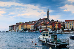 Yachts and Boats near Rovinj at Sunset Royalty Free Stock Photography