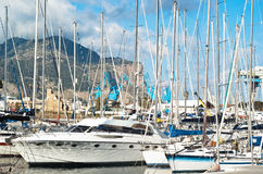 Yachts and boats in old port in Palermo Royalty Free Stock Photo