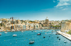 Yachts and boats from plan wiev to Valletta in. Little yachts and boats from plan wiev to the bay near Valletta in Malta stock photos