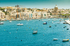 Yachts and boats from plan wiev to Valletta in. Little yachts and boats from plan wiev to the bay near Valletta in Malta stock images