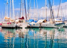 Yachts and boats in the port of Agios Nikolaos, Crete Stock Photo