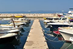 Yachts and boats in port of Podgora Royalty Free Stock Image