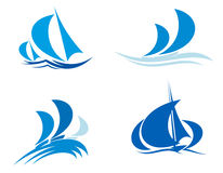 Yachts and boats on regatta. For yachting sport design Royalty Free Stock Photography