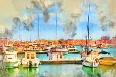 Yachts and boats in Spain. Yachts and boats parked at dock in Marina of Torrevieja. Bay with piers in centre of resort town. Valencia, Spain. Digital watercolor Stock Photos