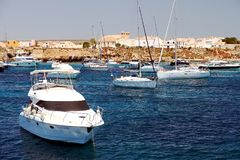 Private yacht sailing along Tabarca Island in Spain. Stock Images