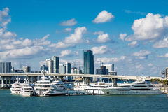 Yachts at Bridge Near Miami Royalty Free Stock Images