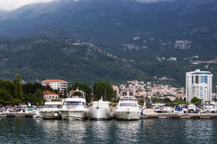 Yachts in Budva harbor, Montenegro Royalty Free Stock Photos