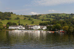 Yachts and Buildings of Low Wood Bay, Lake Windermere,  Cumbria Royalty Free Stock Images
