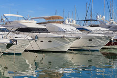 Yachts at Cambrils marina Stock Photos