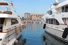 Yachts in Cannes harbor. Stock Images