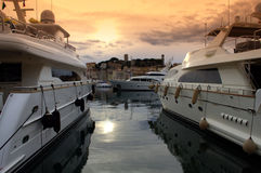 Yachts in Cannes port,France Stock Images
