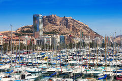 Yachts and Castle of Santa Barbara in background. Alicante Royalty Free Stock Image