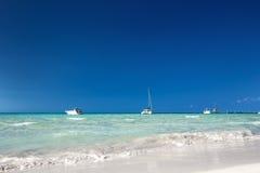 Yachts and catamaran in caribbean sea Stock Photo