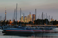 Yachts and the city. Night view to the yacht-club royalty free stock photo