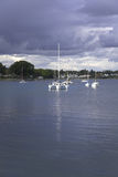 Yachts in  coastal park Royalty Free Stock Photography