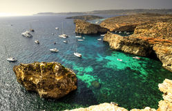 Yachts in Comino Island, Malta Royalty Free Stock Photo