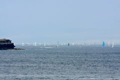 Yachts competing in the Rolex Sydney to Hobart rac. Yachts competing in the Rolex Sydney to Hobart yacht race on Boxing Day Royalty Free Stock Photography
