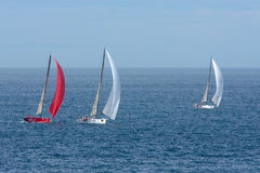 Yachts competing in the Rolex Sydney to Hobart rac. Yachts competing in the Rolex Sydney to Hobart yacht race on Boxing Day Royalty Free Stock Images