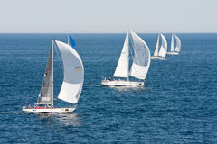 Yachts competing in the Rolex Sydney to Hobart rac. Yachts competing the Rolex Sydney to Hobart yacht race on Boxing Day Royalty Free Stock Images