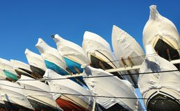 Yachts covers winter season Royalty Free Stock Photo