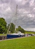 Yachts. On the Crinan Canal, Scotland, UK Stock Photos