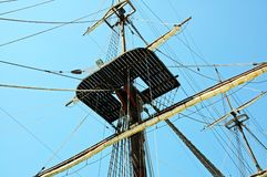 Yachts crows nest and rigging. Royalty Free Stock Images