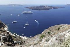 Yachts and a cruis ship at Fira, Santorini Royalty Free Stock Images