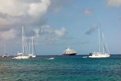 Yachts and a cruise ship at admiralty bay, bequia Royalty Free Stock Photo