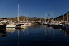 Yachts dans la marina Photo stock