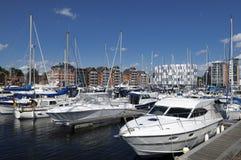 Yachts dans la marina d'Ipswich Images libres de droits