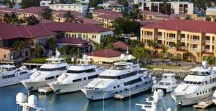 Yachts dans la rue Thomas Photographie stock libre de droits